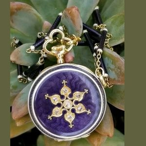 Antique 18k Gold Diamond Enamel Pocket Watch Chain